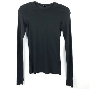 Theory Black Crew Neck Long Sleeve Top Small